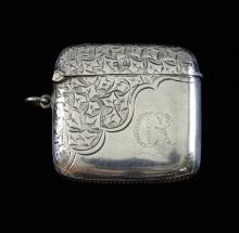 George V bright cut engraved silver vesta case by
