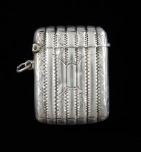 George V silver vertical reeded vesta case, by Smi