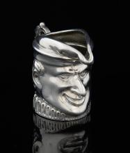 Novelty Mr Punch silver cream jug with import mark