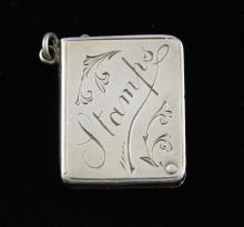 Edward VII silver stamp box with suspension ring,