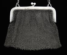 Continental silver mesh purse with import marks fo