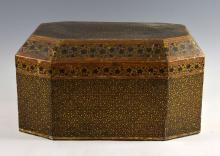 19th Century Indian large papier mache octagonal b