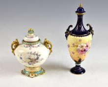 Crown Derby ginger jar, with twin gilt handles an
