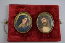 Pair of 19th century Porcelain  oval  plaques  of