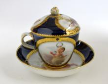 German porcelain chocolate cup and cover and sauce