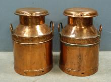 Two copper milk churns, one for Lovel's Cry's Ltd.