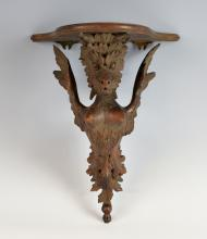 19th century carved wood wall bracket the support
