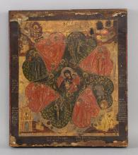 Russian icon, Virgin and child surrounded by angel
