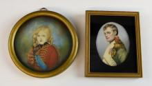 Portrait miniature, Napoleon, 8.5cm, and another o