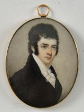 19th Century portrait miniature of a Man in a Blac