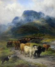 H. Garland, 'Highland Drove', drover with cattle a