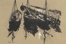 David Cobb (British, 1921-2014), study of boats, i