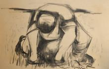 20th century charcoal study of a stooping man sign