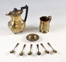 George V silver hot water pot with gadrooned rim on four ball feet, by Robert Pringle & Sons, London, 1911, silver mug, six teaspoons, and a small dish, gross weight 21oz, 653g,