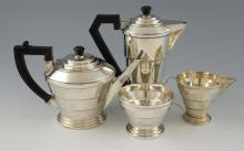 George V silver Art Deco four-piece tea and coffee