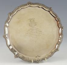 Victorian silver presentation salver with serpenti