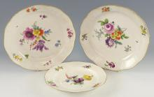 Pair of 19th century Meissen plates painted with b