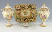 Pair of  early 20th century Dresden vases and cove