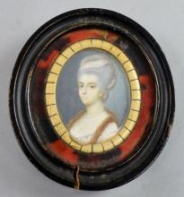 19th Century portrait miniature of a woman in a fu