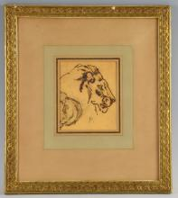 Ink and wash  drawings, lion and lioness, signed with initials, 16cm x 14cm , 14cm x 122cm