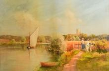 L Burleigh Bruhl, Sailing boat possibly on the boards, Suffolk, watercolour 34cm x 52cm