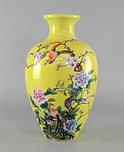 REVISED ESTIMATE Chinese yellow glazed vase decorated with birds on blossom