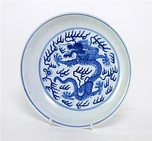 † Chinese blue and white saucer dish with central dragon decoration. Six character seal mark of Jiaqing to base but probably lat