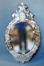 19th century Venetian engraved glass oval mirror