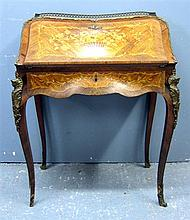 Late 19th/ early 20th century French rosewood and marquetry inlaid Bonheur du Jour, the fall flap with drawers over a single