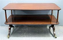 Mahogany and ebony strung two tier table on twin end supports to splayed legs