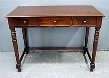 19th century mahogany side table with three drawers on turned legs