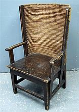 Child's Orkney chair, with stained pine frame and rush back