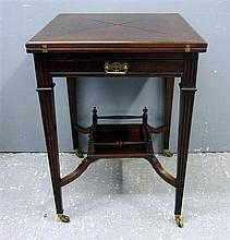 Late 19th century mahogany envelope card table with frieze drawer and under tier