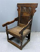 18th Century oak Wainscot chair with carved back