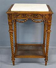 19th century carved walnut side table with marble top and undertier