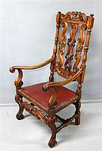Late 17th Century carved walnut elbow chair