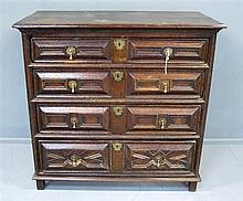 17th/18th century oak chest with four long drawers
