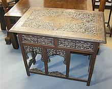 19th century Middle Eastern rosewood and brass inlaid folding table,