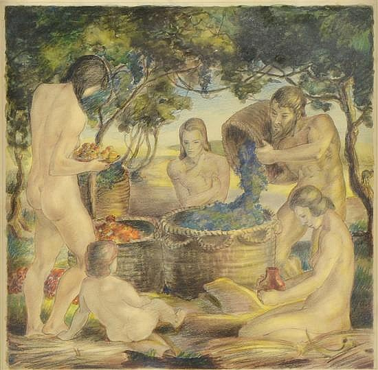 John J. Benninger (American, 20th century) - 'Harvest', 1937, watercolour on paper depicting nudes in a vineyard, signed, titled and