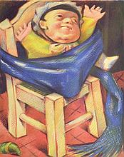 Jean Charlot (American/French, 1898-1979) - Baby in a chair, 1936, signed and dated, artist's proof in pencil to plate,