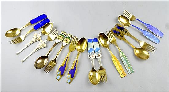 Anton Michelsen silver year spoons and forks sixteen in total ,1959-1966