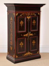 Small black, red and gilt painted cabine