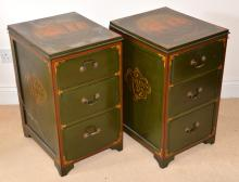 Pair of green, red and gilt decorated fi
