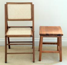Folding beech wood chair and two stools