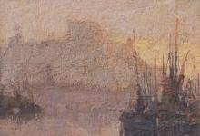 revised description: In the style of James Wilson Morrice, oil on board, of ships in harbour, 7cm x 10cm.