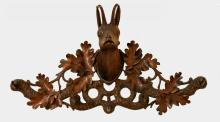 Black Forest carved wood coat rack, with