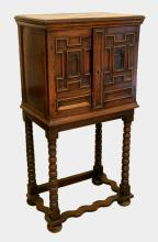 William & Mary fruitwood cabinet on stan