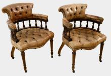 Pair of 20th century mahogany framed and