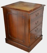 Modern mahogany and leather topped filin