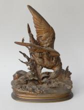 J.Moigniez bronze figure of a bird on fo
